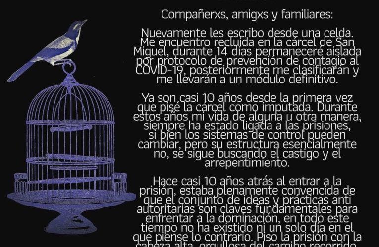 Comunicado de la compañera Mónica Andrea Caballero Sepúlveda (Esp/Ing)