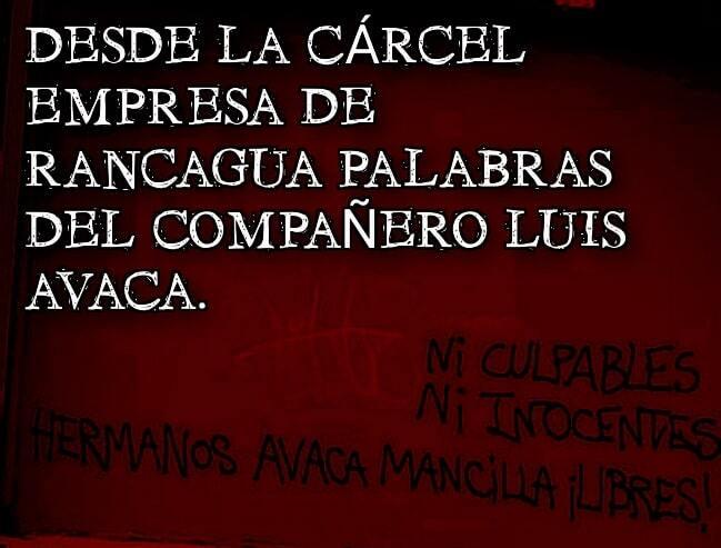 Mundo-Cárcel. Palabras del compañero Luis Avaca desde la Cárcel deRancagua
